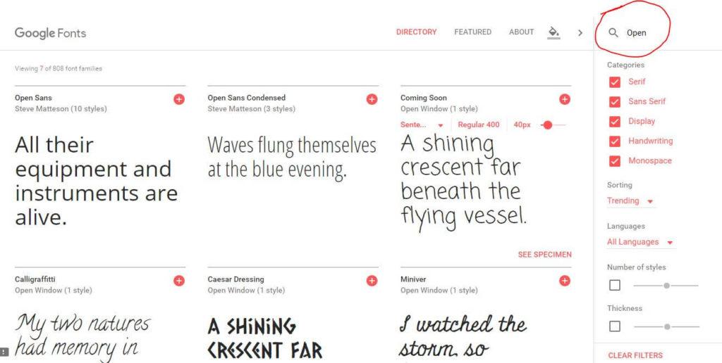 Google fonts - search - letibo